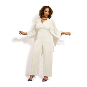 Women Plus Size Jump Suit Summer V-Neck