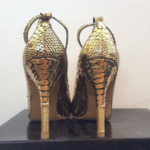 Women Shoes Metallic Lock  Snakeskin Dress Pumps