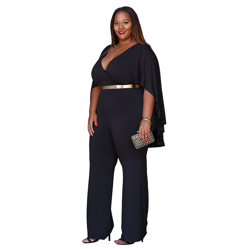 Women Plus Size Jump Suit  Sleeve Wide-leg