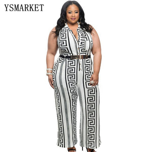 Women Plus Size Jump Suit Elegant Print