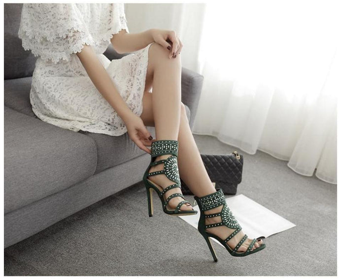 Women Shoes Summer Rhinestone Gladiator Sandals Open Toe