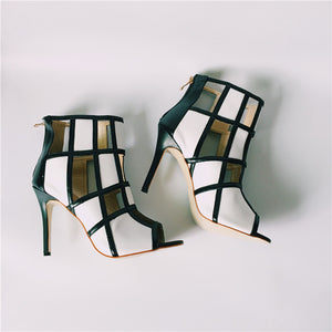 Women Summer Black/White Open Toe Gladiators