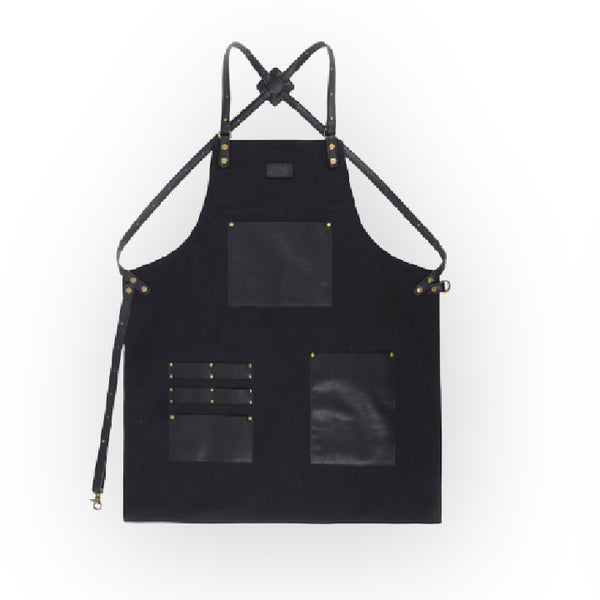 Black Canvas Apron With Leather Straps - 063C - Specialty Hub