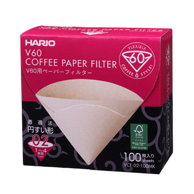 V60 Paper Filter 02 White 100pcs - Hario