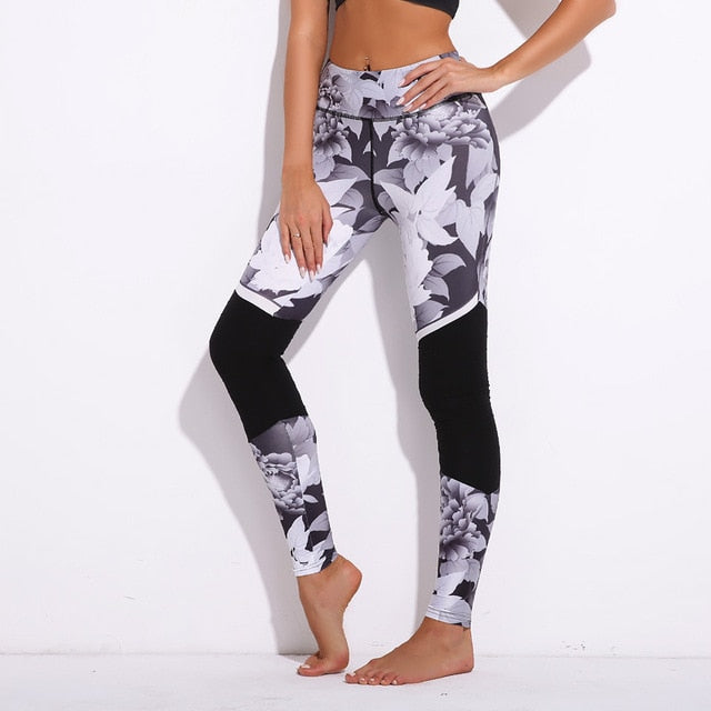 Women's Marble Print Mesh Fitness Leggings - ShE HAUTE FITNESS