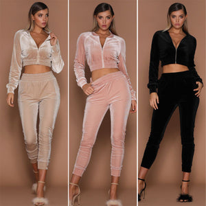 Crop Top Velour Tracksuit - ShE HAUTE FITNESS