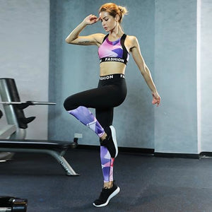 Women's Colorful Sports Top And Leggings Set - ShE HAUTE FITNESS