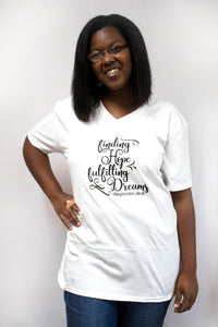 "Shepherds College ""Finding Hope, Fulfilling Dreams"" V Neck Tee - White"