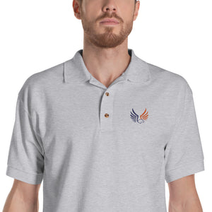 Shepherds College Embroidered Polo Shirt - White & Sport Grey