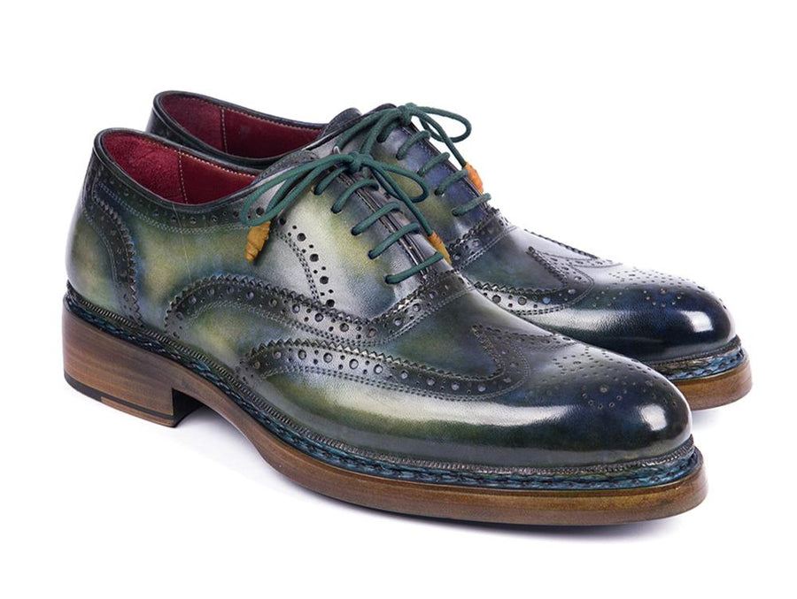 Paul Parkman Triple Leather Sole Wingtip Brogues Green & Blue '-----