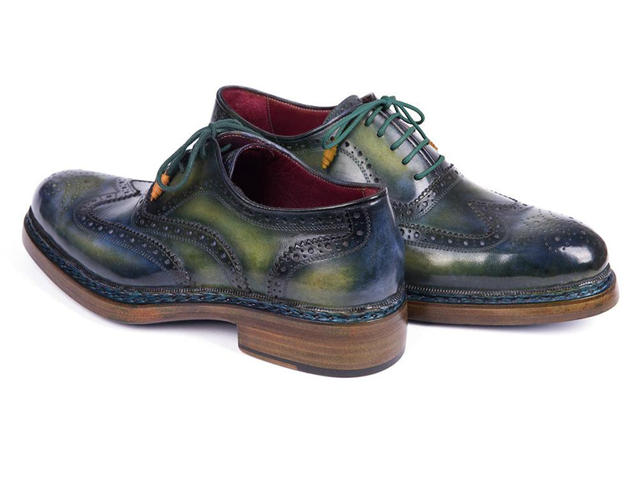Paul Parkman Triple Leather Sole Wingtip Brogues Green & Blue EU 39 - US 6.5 / 7