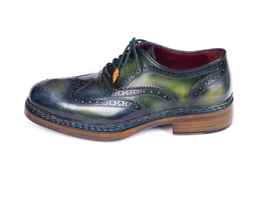 Paul Parkman Triple Leather Sole Wingtip Brogues Green & Blue EU 41 - US 8 / 8.5