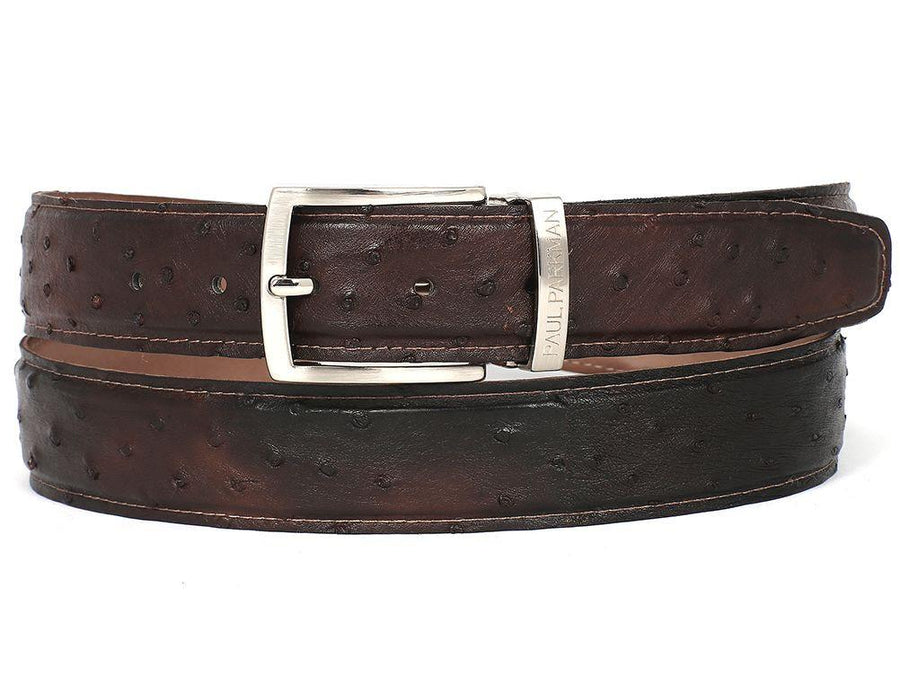 PAUL PARKMAN Men's Brown Genuine Ostrich Belt