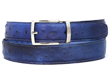 PAUL PARKMAN Men's Blue Genuine Ostrich Belt (ID#B04-BLU)