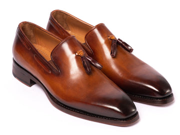Paul Parkman Brown Goodyear Welted Tassel Loafers EU 38 - US 6