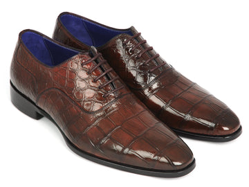 Paul Parkman Brown Genuine Crocodile Oxfords EU 38 - US 6