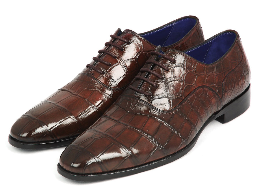 Paul Parkman Brown Genuine Crocodile Oxfords