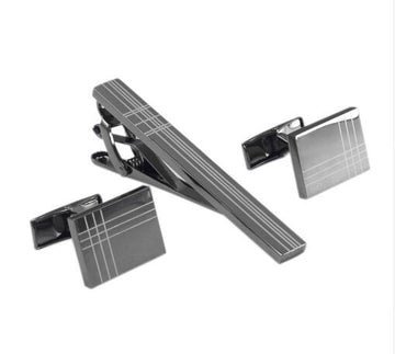 Square Laser Tie Bar and Cufflinks Set set