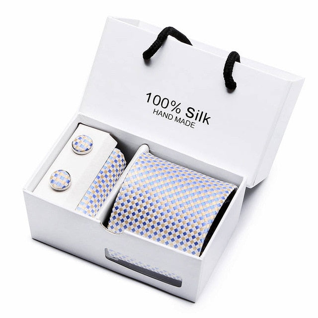 Silk Tie Set - Necktie, Pocket Square, Cufflinks SB06