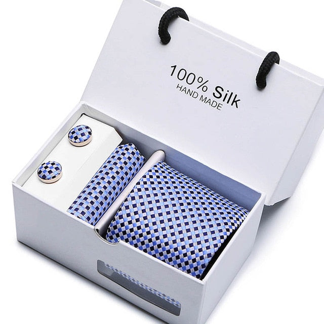 Silk Tie Set - Necktie, Pocket Square, Cufflinks SB21