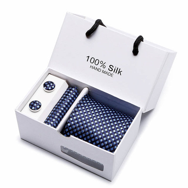 Silk Tie Set - Necktie, Pocket Square, Cufflinks SB12