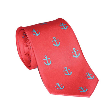 Anchor Silk Necktie - Light Blue on Coral