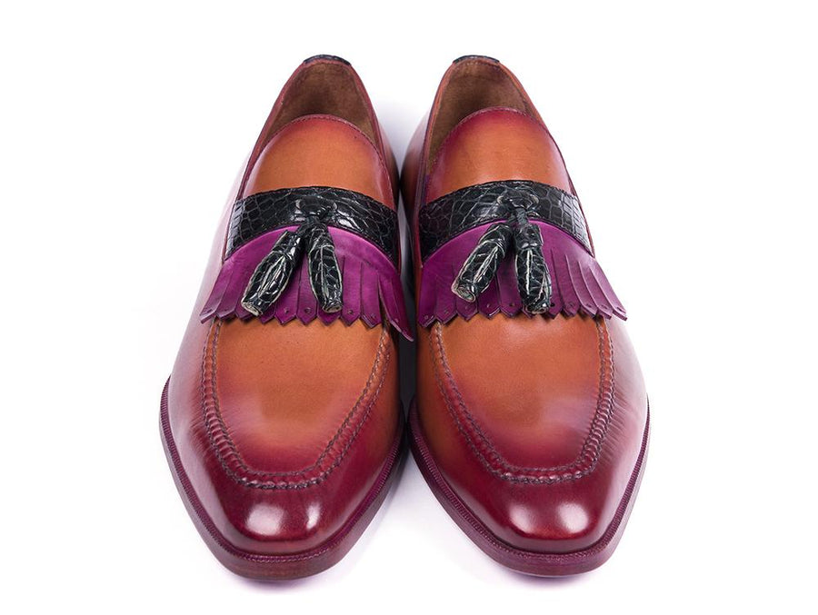 Paul Parkman Brown Calfskin & Genuine Crocodile Tassel Loafers EU 38 - US 6