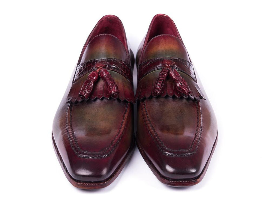 Paul Parkman Bordeaux & Green Calfskin with Genuine Crocodile Tassel Loafers EU 38 - US 6