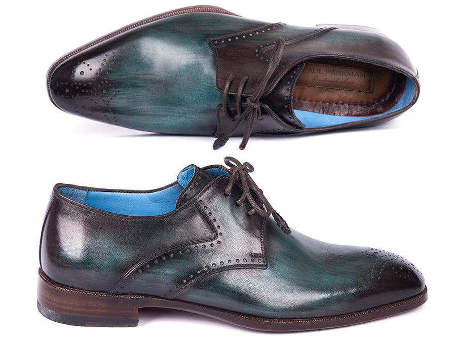 Paul Parkman Turquoise & Brown Medallion Toe Derby Shoes EU 38 - US 6