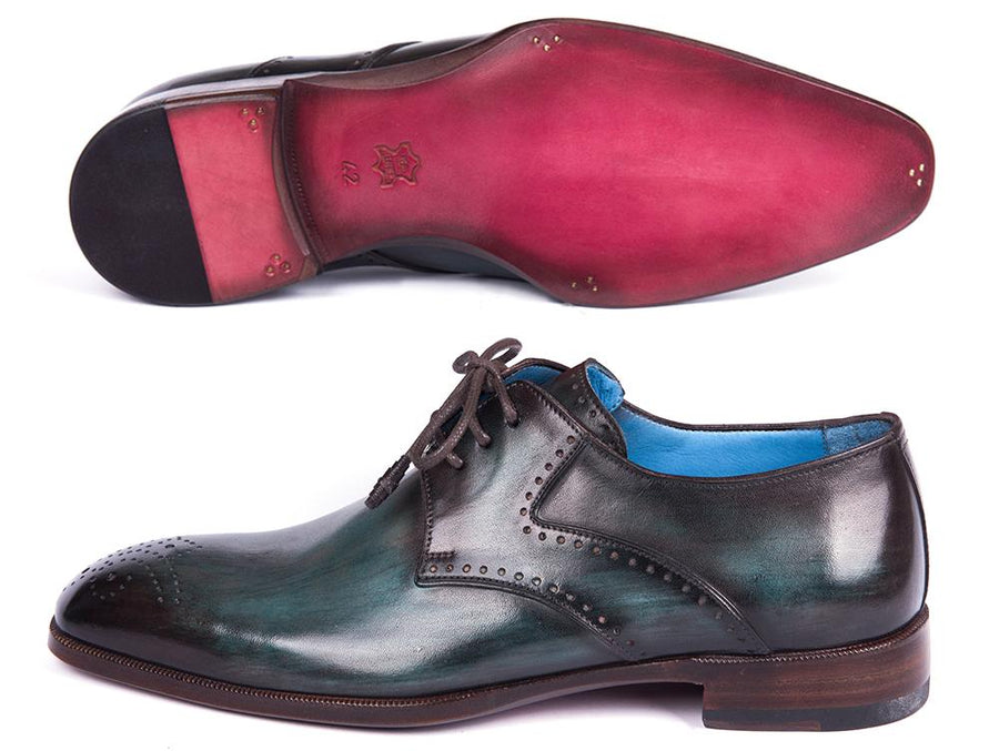 Paul Parkman Turquoise & Brown Medallion Toe Derby Shoes EU 39 - US 6.5 / 7