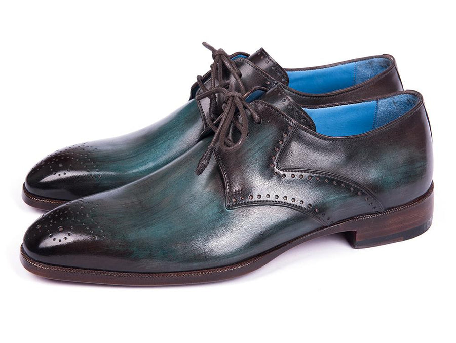 Paul Parkman Turquoise & Brown Medallion Toe Derby Shoes EU 40 - US 7.5