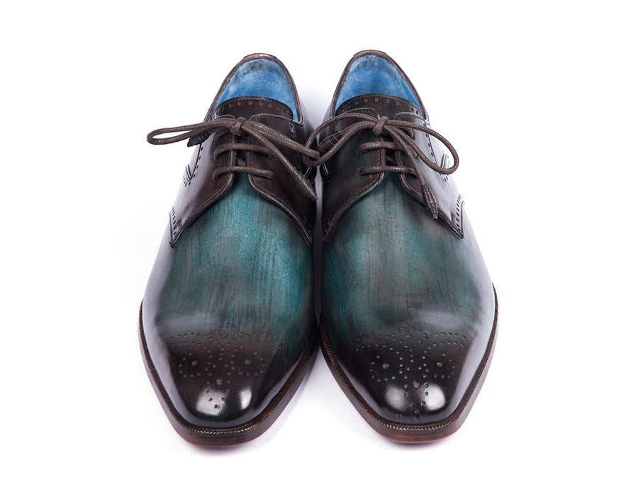 Paul Parkman Turquoise & Brown Medallion Toe Derby Shoes EU 41 - US 8 / 8.5