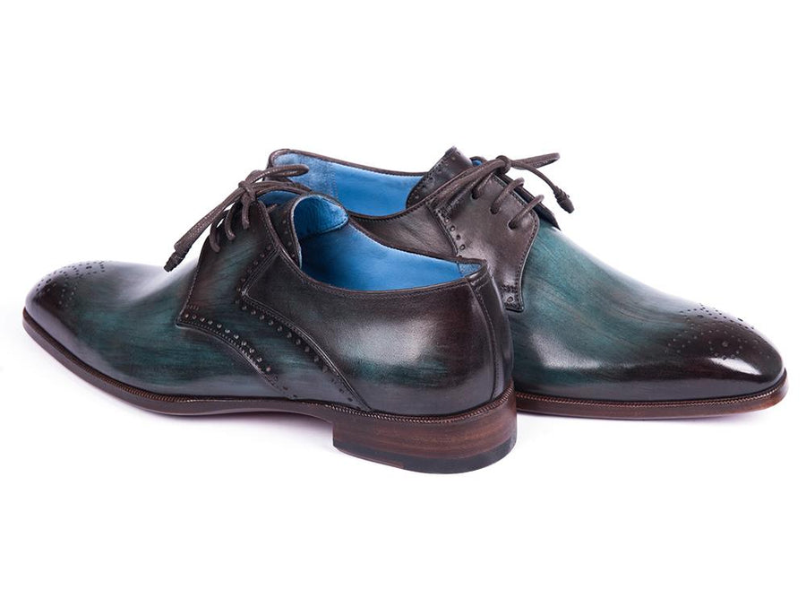Paul Parkman Turquoise & Brown Medallion Toe Derby Shoes EU 42 - US 9 / 9.5