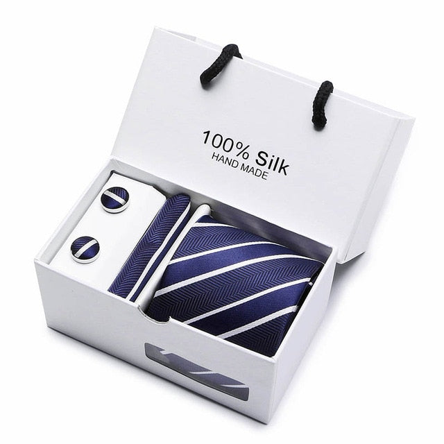 Silk Tie Set - Necktie, Pocket Square, Cufflinks SB04
