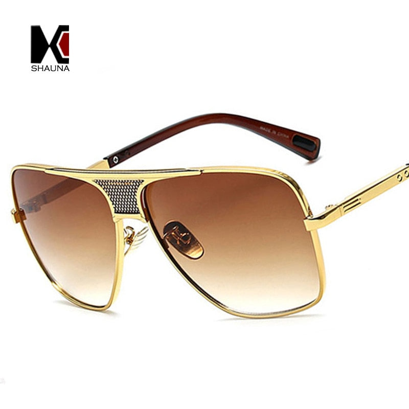 Vintage Square Frame Sunglasses Golden Clear