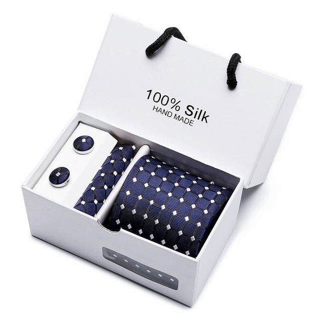 Silk Tie Set - Necktie, Pocket Square, Cufflinks SB11