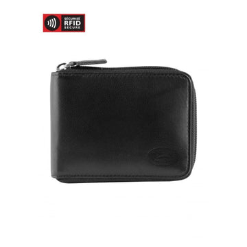 Men's RFID Secure Zippered Wallet With Removable Passcase Black