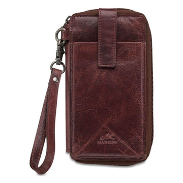 RFID Secure Cell Phone Wallet - Burgundy