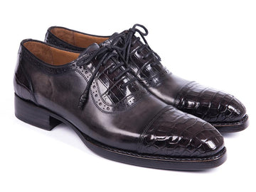 Paul Parkman Black Genuine Crocodile & Gray Calfskin Captoe Oxfords EU 38 - US 6