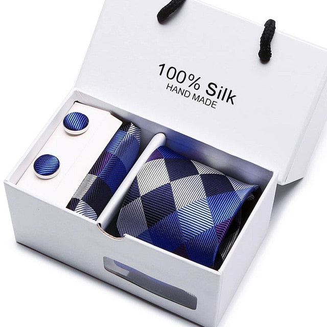 Silk Tie Set - Necktie, Pocket Square, Cufflinks SB25