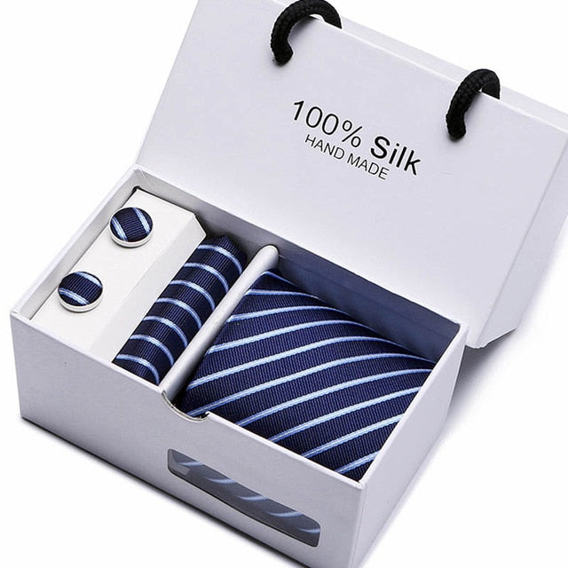 Silk Tie Set - Necktie, Pocket Square, Cufflinks SB17