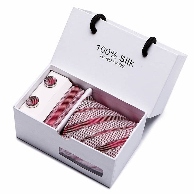 Silk Tie Set - Necktie, Pocket Square, Cufflinks SB05