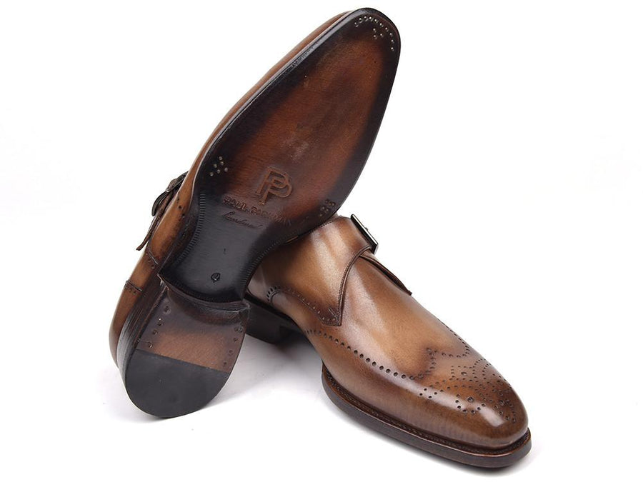 Paul Parkman Wingtip Single Monkstraps Brown & Camel
