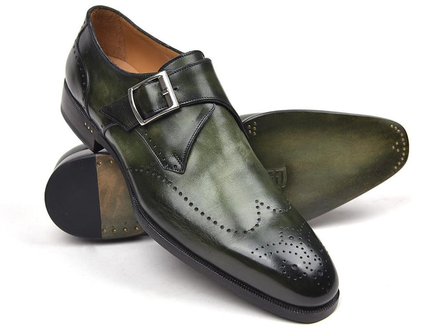 Paul Parkman Wingtip Single Monkstraps Green