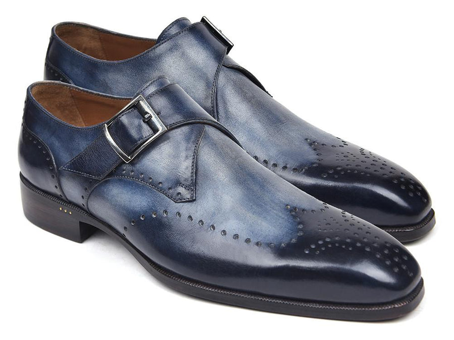 Paul Parkman Wingtip Single Monkstraps Navy '-----