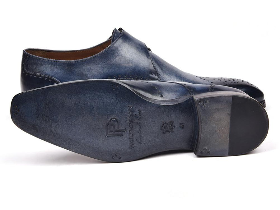 Paul Parkman Wingtip Single Monkstraps Navy EU 38 - US 6