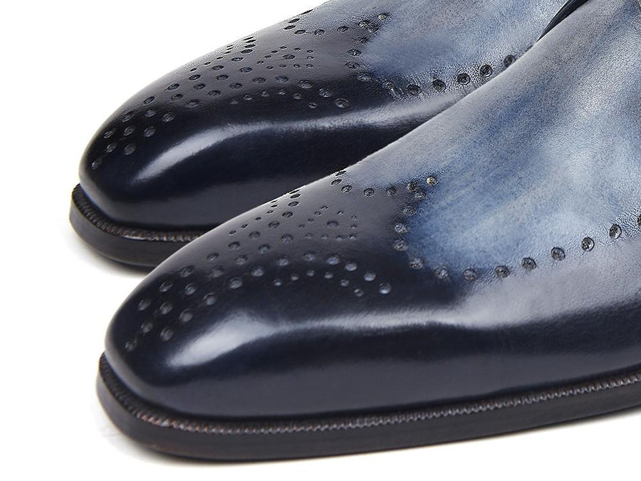 Paul Parkman Wingtip Single Monkstraps Navy EU 40 - US 7.5
