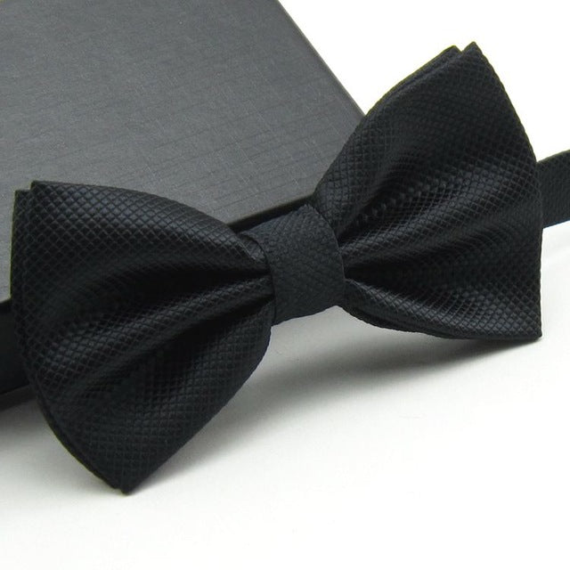 Formal Wear Solid Bow Ties a15 Navy Blue