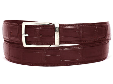 PAUL PARKMAN Men's Bordeaux Genuine Crocodile Belt (ID#B05-BRD)