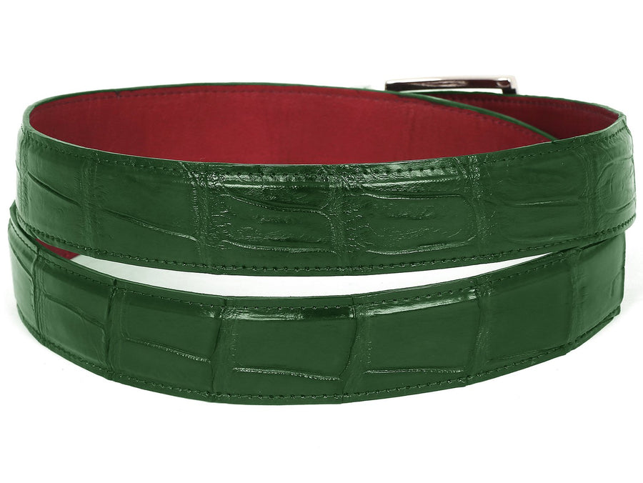 PAUL PARKMAN Men's Green Genuine Crocodile Belt Small